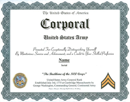 Corporal Army Rank Display Recognition