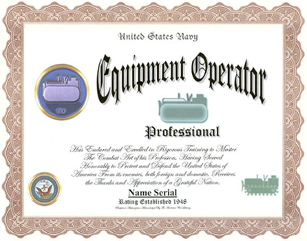 Equipment Operator Professional Display Recognition