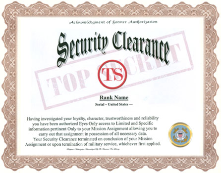 Military Security Clearance Acknowledgment Display Recognition
