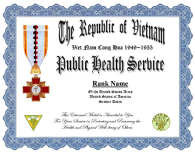 Vietnam Public Health Service Medal Display Recognition