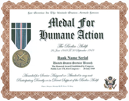 Medal for humane action display recognition click certificate for larger image yelopaper Choice Image