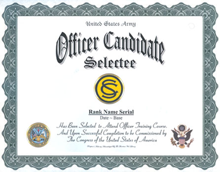 Army Officer Candidate School Selectee Professional. Click Certificate For  Larger Image
