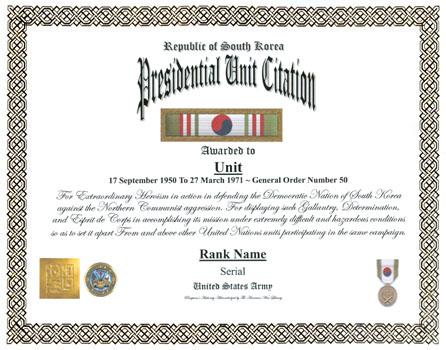 Presidential Unit / Distinguished Unit Citation Display