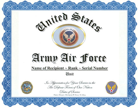 Army air corps army air force service appreciation recognition for Air force certificate of appreciation template