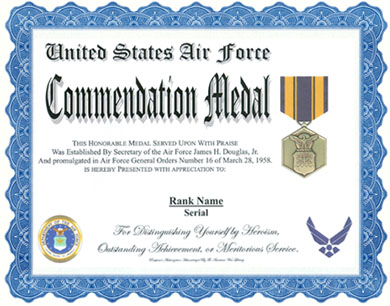 Air Force Commendation Medal Display Recognition