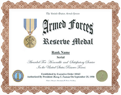 Armed Forces Reserve Medal Display Recognition