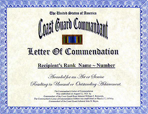 coast guard commandant letter of commendation display recognition
