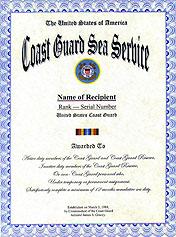Coast Guard Sea Service Ribbon Display Recognition Form