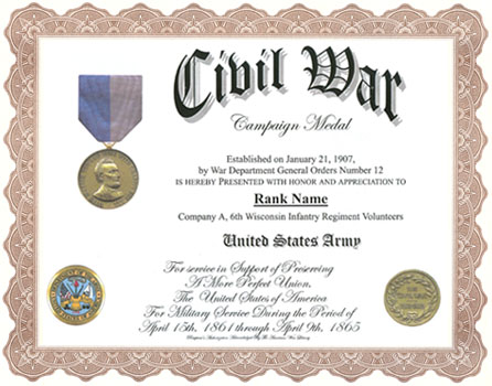 Civil War Campaign Medal Display Recognition Information