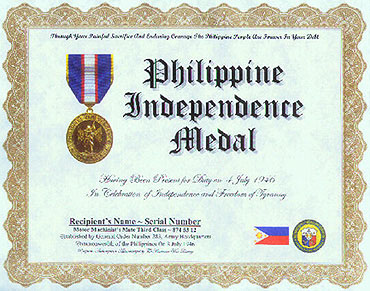 Philippine independence medal replacement certificate yelopaper Images