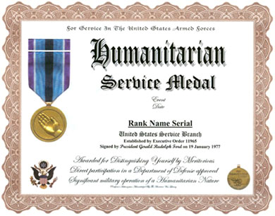 Humanitarian medal replacement certificate click for larger image yelopaper Images