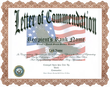 Letter Of Commendation Display Recognition