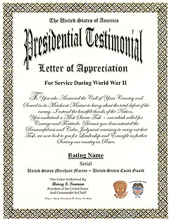 Acknowledgement of Presidential Testimonial Letter Display Recognition