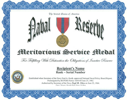 Naval Reserve Meritorious Service Medal Display Recognition
