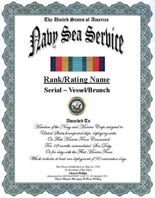 Navy Sea Service Ribbon Display Recognition Form