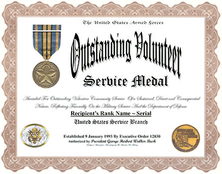 Sample certificate of service template certificate of outstanding volunteer service medal and display recognition yadclub Choice Image