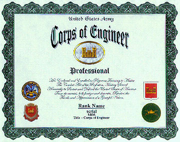 Us army corps of engineer display recognition example display recognition actual size 8 12 x 11 yadclub Image collections