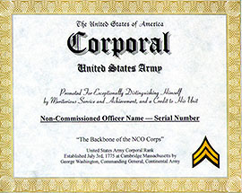 army enlisted promotion display recognition