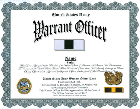 Army Warrant Officer Appointment Display Recognition