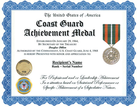 Coast guard achievement medal display recognition issue regulations coast guard achievement click for larger image spiritdancerdesigns Image collections