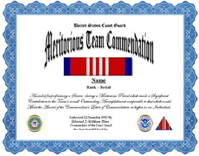 Coast Guard Meritorious Team Commendation Ribbon Display