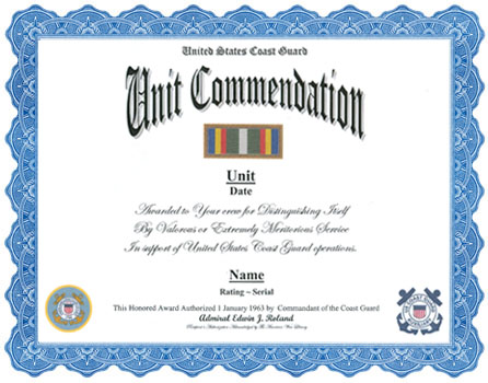 Coast Guard Unit Commendation Ribbon Display Recognition