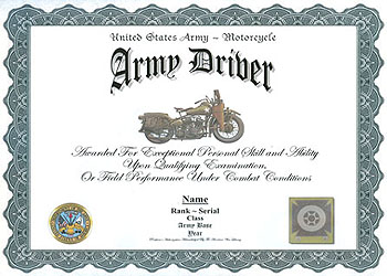 army drivers badge award example