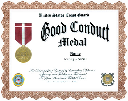 Image Result For Good Conduct Award Template Navy