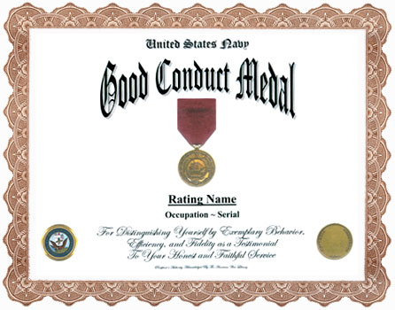 Good conduct display recognition for Army good conduct medal certificate template