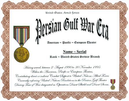Persian Gulf War Era Service Appreciation Recognition