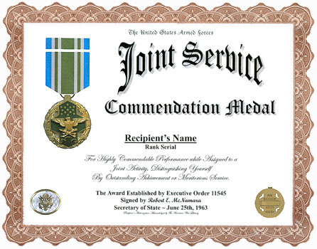 How would one write up request for Joint Meritorious Service Medal?