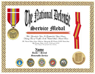 National Defense Service Medal Display Recognition