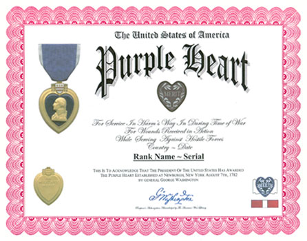 List of purple heart recipients for Purple heart citation template