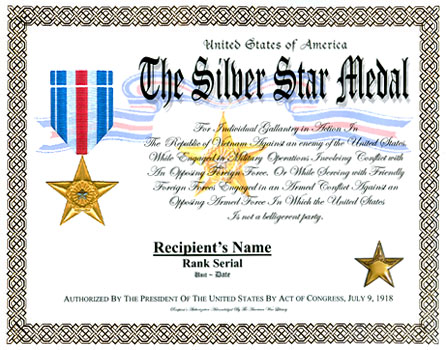 Silver Star Medal Display Recognition