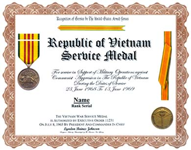 Vietnam Service Medal Display Recognition