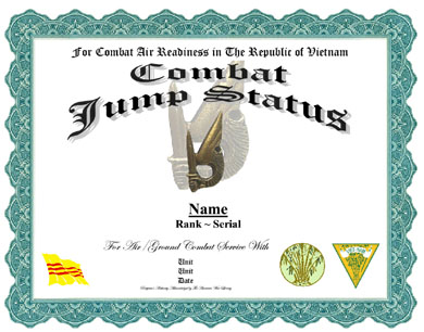Jump Status Vietnam Parachutist Badge Replacement Certificate