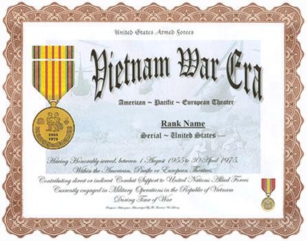 Vietnam War Era Service Appreciation Recognition – Military Certificate of Appreciation Template