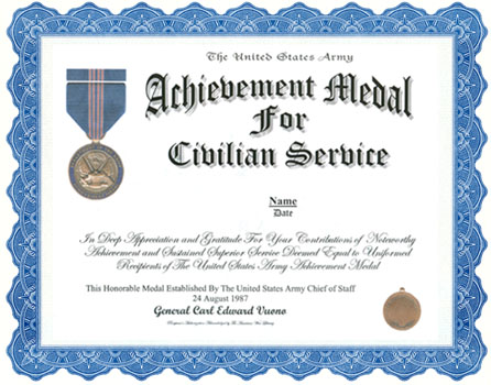 Achievement medal for civilian service display recognition yadclub