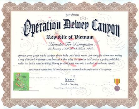 operation dewey canyon display recognition