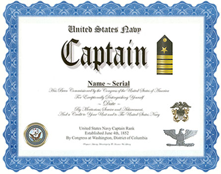 officer promotion certificate template - captain rank navy coast guard display recognition
