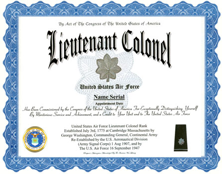 promotion certificate template - lieutenant colonel air force rank display recognition