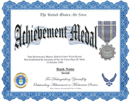 Air Force Achievement Medal Display Recognition