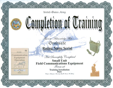 army certificate of completion template - field communications equipment training completion display