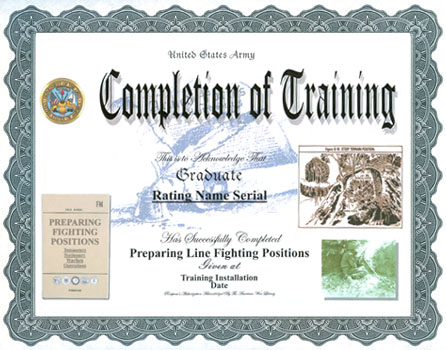 Sample certificate of completion on the job training gallery preparing fighting positions training completion display recognition preparing fighting positions training completion click certificate for larger yelopaper Image collections