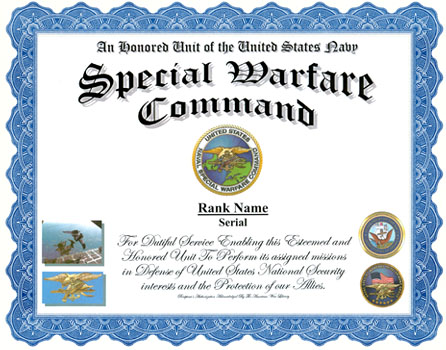 US Navy Special Warfare Command Service Display Recognition