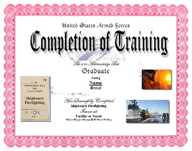 Shipboard Firefighting Training Completion Display Recognition ...
