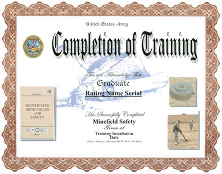 Minefield Detection and Safety Training Completion Display – Army Certificate of Training Template