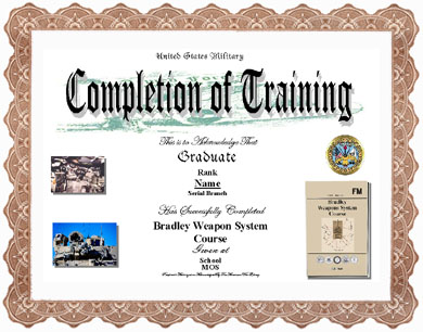 Bradley Fighting Vehicle Training Completion Image Application Form