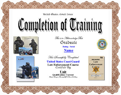 Coast guard law enforcement training completion display recognition click certificate for larger image yadclub Images