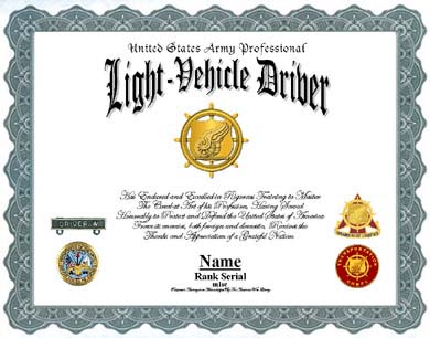 Us Army Light Vehicle Driver Professional Display Recognition